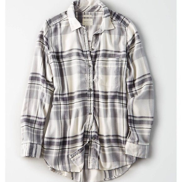 Grey white plaid oversized flannel American Eagle
